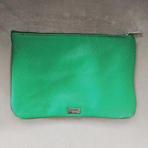 Green zipper clutch wallet pouch